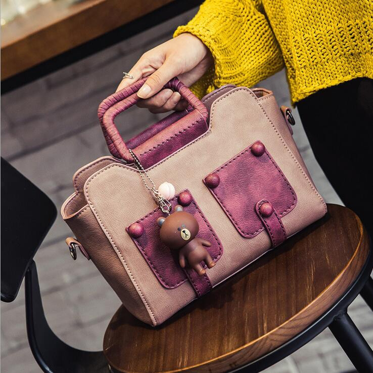 33.91$  Watch now - http://ali9fu.shopchina.info/go.php?t=32793672289 -   The New Spring women Top-Handle Bags shoulder bag women leather handbags with a Free bear pendant  33.91$ #aliexpresschina