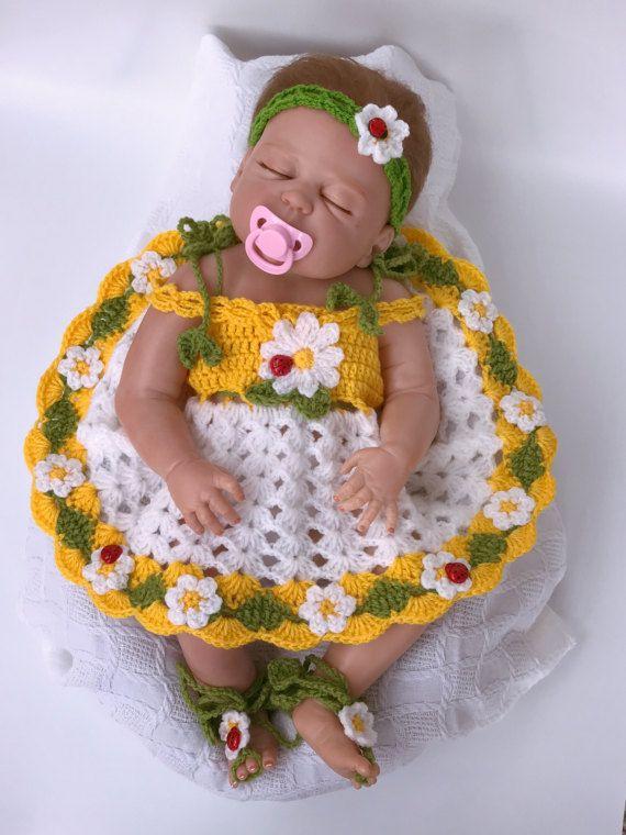Baby dress, Crochet headband, Crochet shoes, Crochet cardigan, White ...