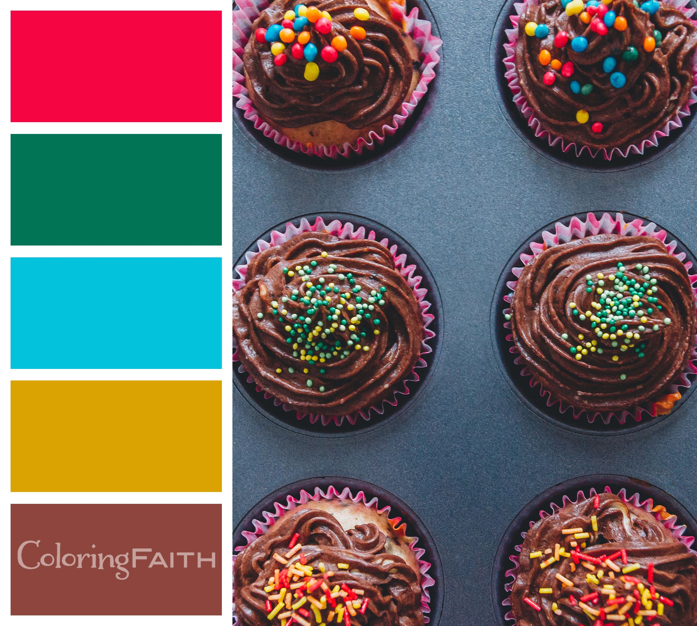 Christmas Cupcakes Color Palette - 10 Free Adult Coloring Book Color ...