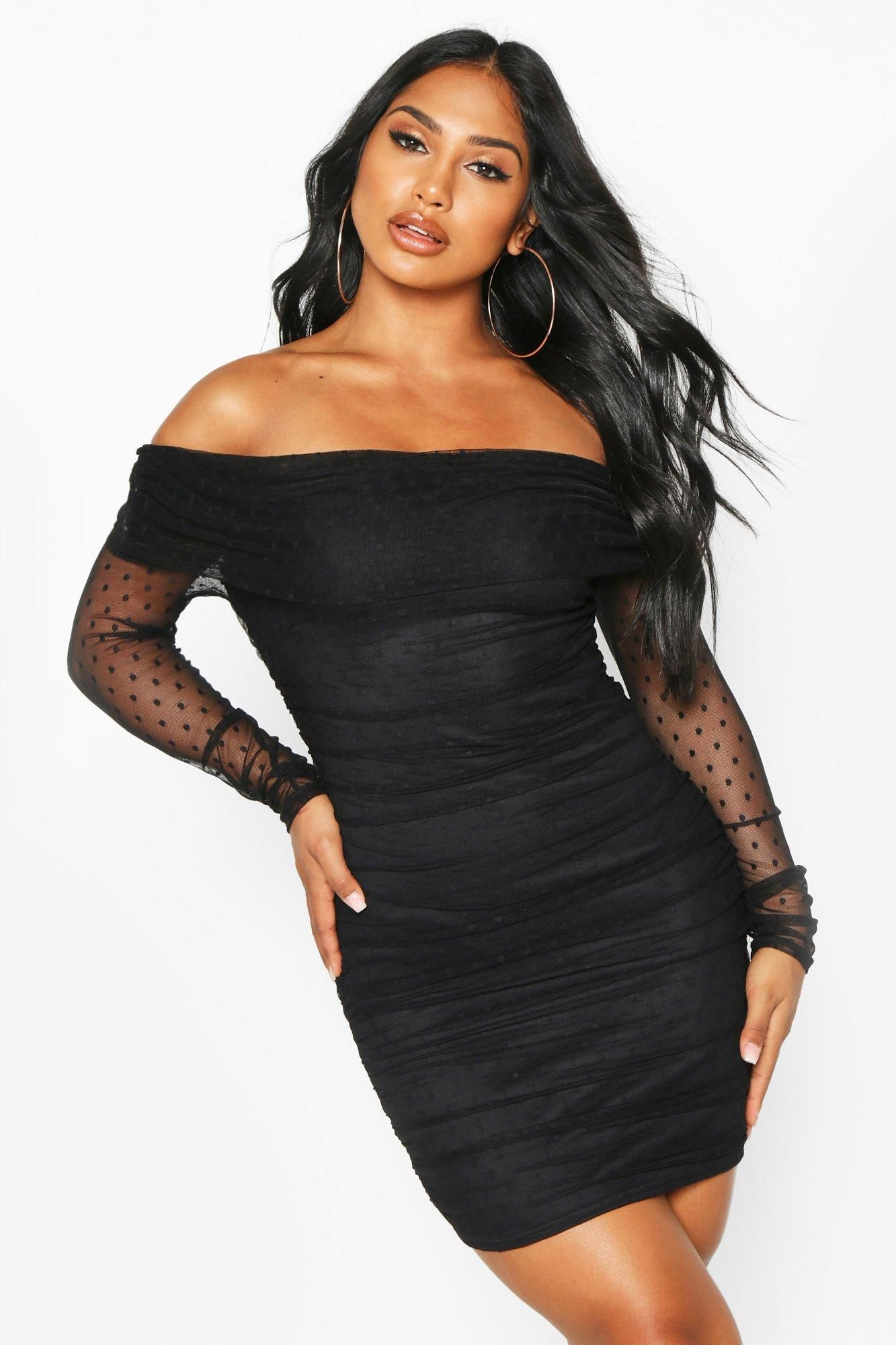 Dobby Off Shoulder Long Sleeve Mini Dress Boohoo Black Long Sleeve Mini Dress Mini Dress Bodycon Fashion [ 2000 x 1333 Pixel ]
