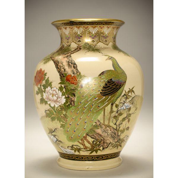 Japanese Satsuma Porcelain Vase With Peacock 13 38h Peacocks