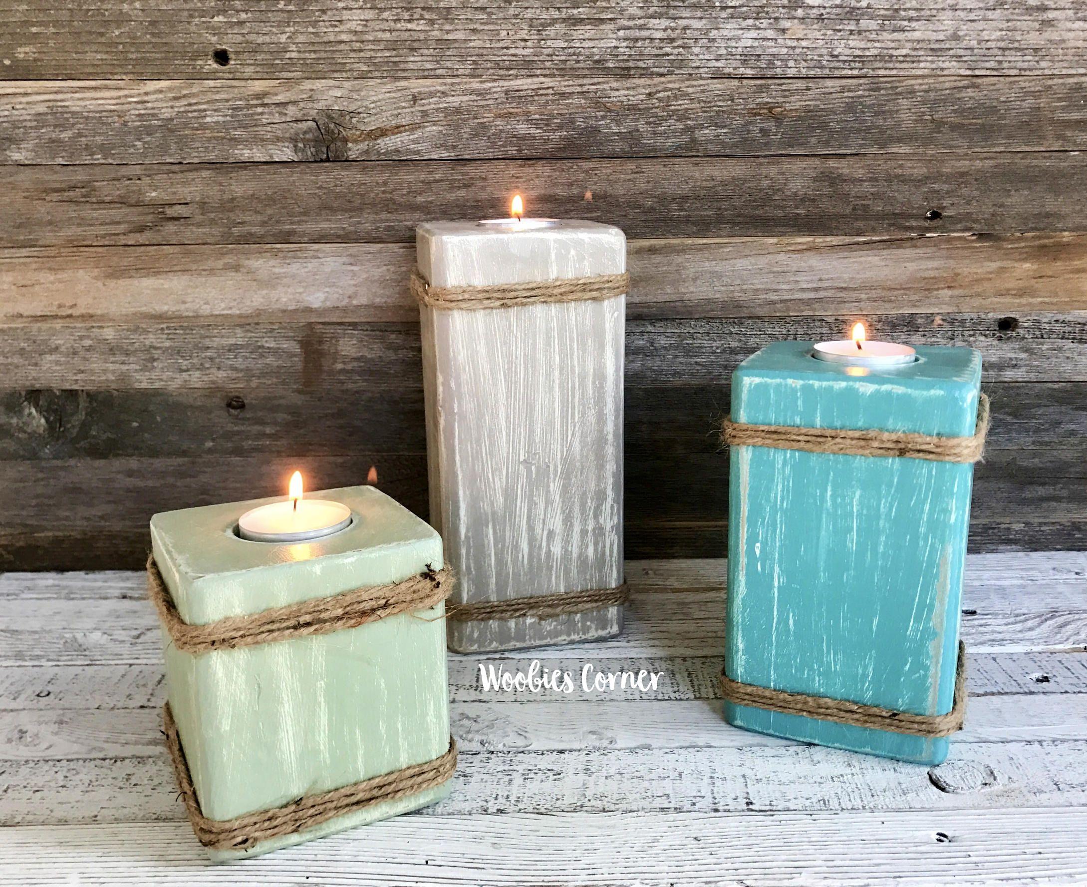 Wooden candle holder Tea light holder Rustic home decor