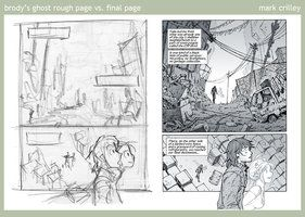 Mark Crilley: this shows how a panels can be used to divide a page, as well as how a rough panel can be refined to look sleek and finished.