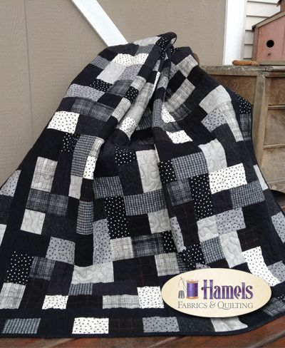 Hopscotch Flannel Quilt - Black  White Quilting Pinterest