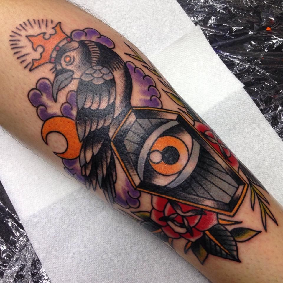 Crow and coffin tattoo by James Ryan.