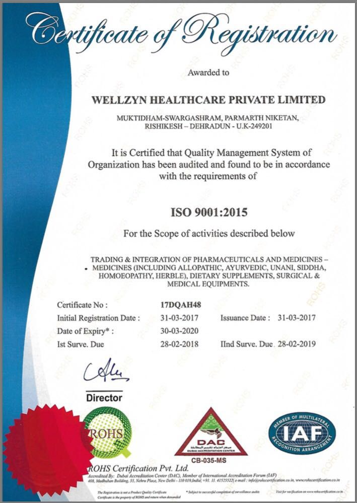 Wellzyn_Healthcare_Private_Limited an ISO 9001:2015