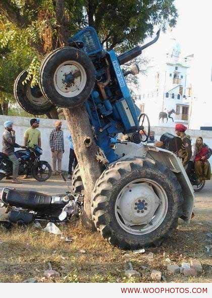 Cool Motor Bike And Tractor Accident Comedy Funny