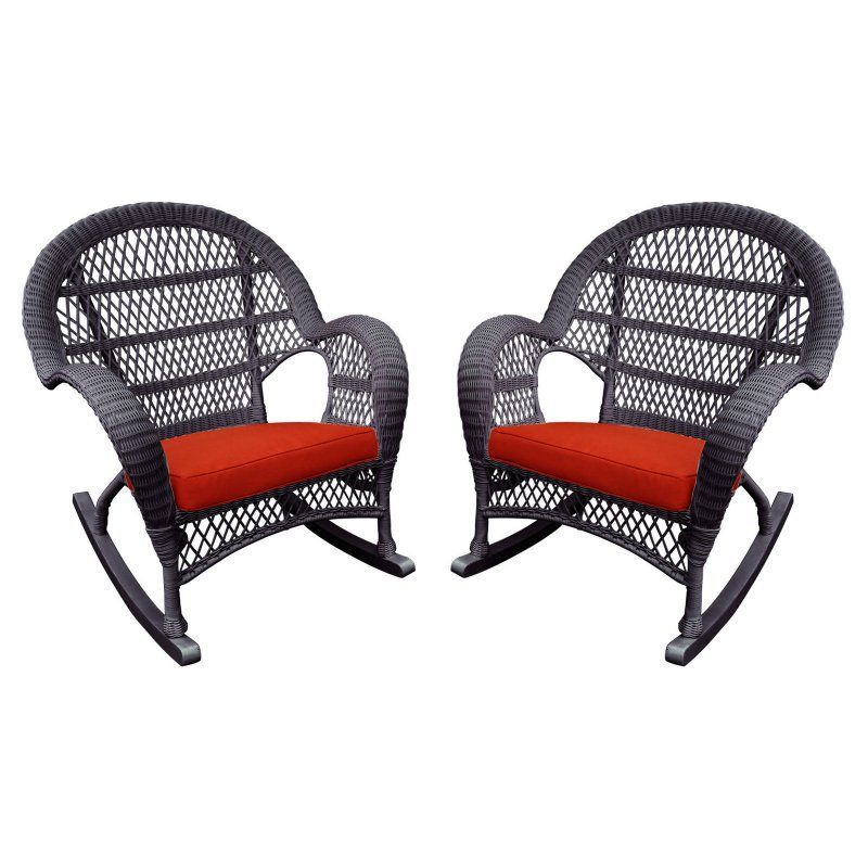 Outdoor Jeco Santa Maria Wicker Patio Rockers with Optional Cushion - Set of 4 Red - W00208-R_4-FS018-CS