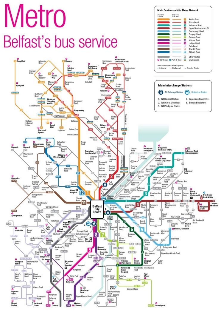Belfast bus map Maps Pinterest Bus map Belfast and City