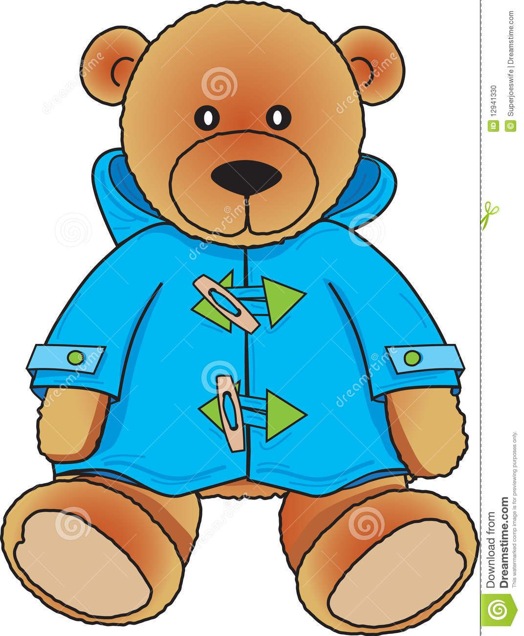 cute colors clipart | Stock Photo: Teddy Bear in blue coat | Cute ...