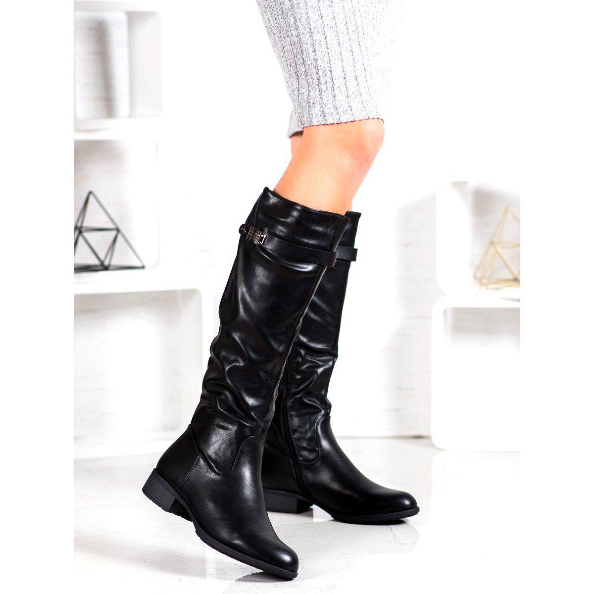 Gogo Czarne Oficerki Z Eko Skory Boots Shoes Riding Boots