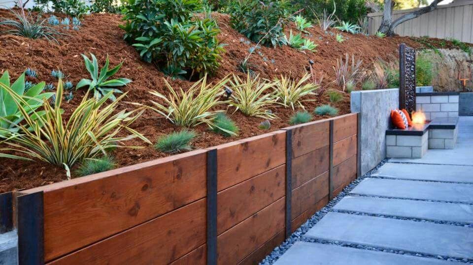 I Beam Wood Retaining Wall Landscaping Retaining Walls Backyard Retaining Walls Wood Retaining Wall