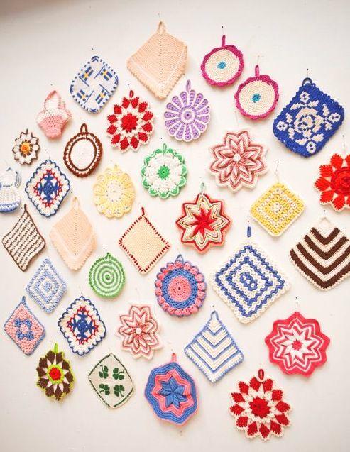Pretty Free Vintage Crochet Potholder Hot Pad And Dishcloth