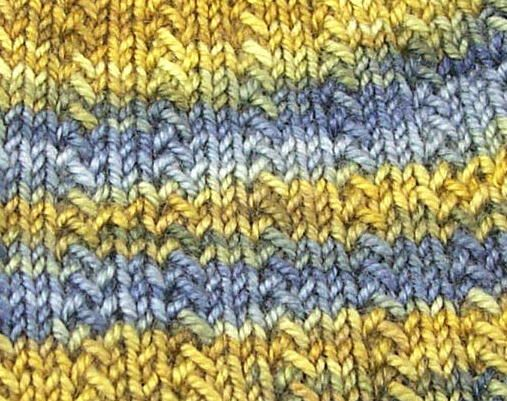Knitting Stitch Slip 1 Wyif : Herringbone Rib: Row One: Knit Row Two: *K2, Slip 1, K1, YO, PSSO* repeat fro...