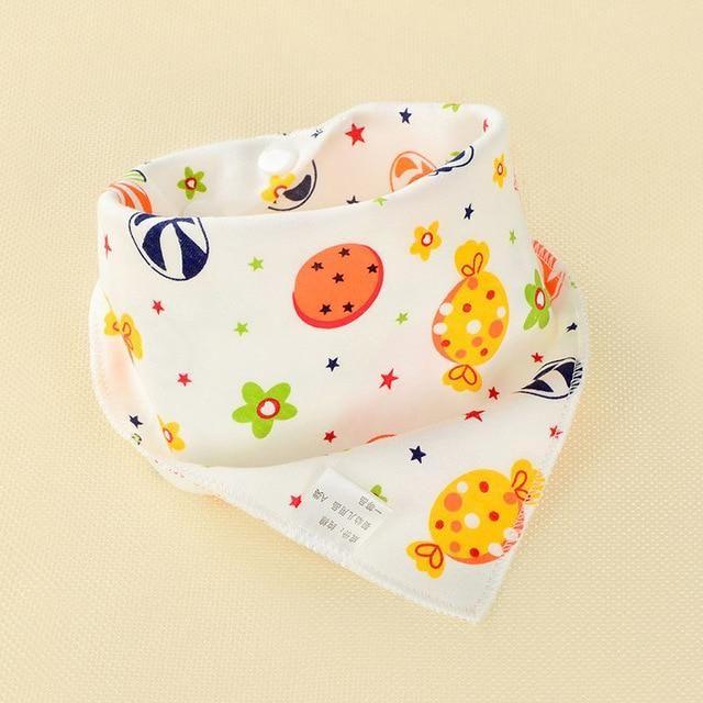 Baby Bib Triangle Double Cotton Bib Cartoon Print Saliva Towel Apron Cotton