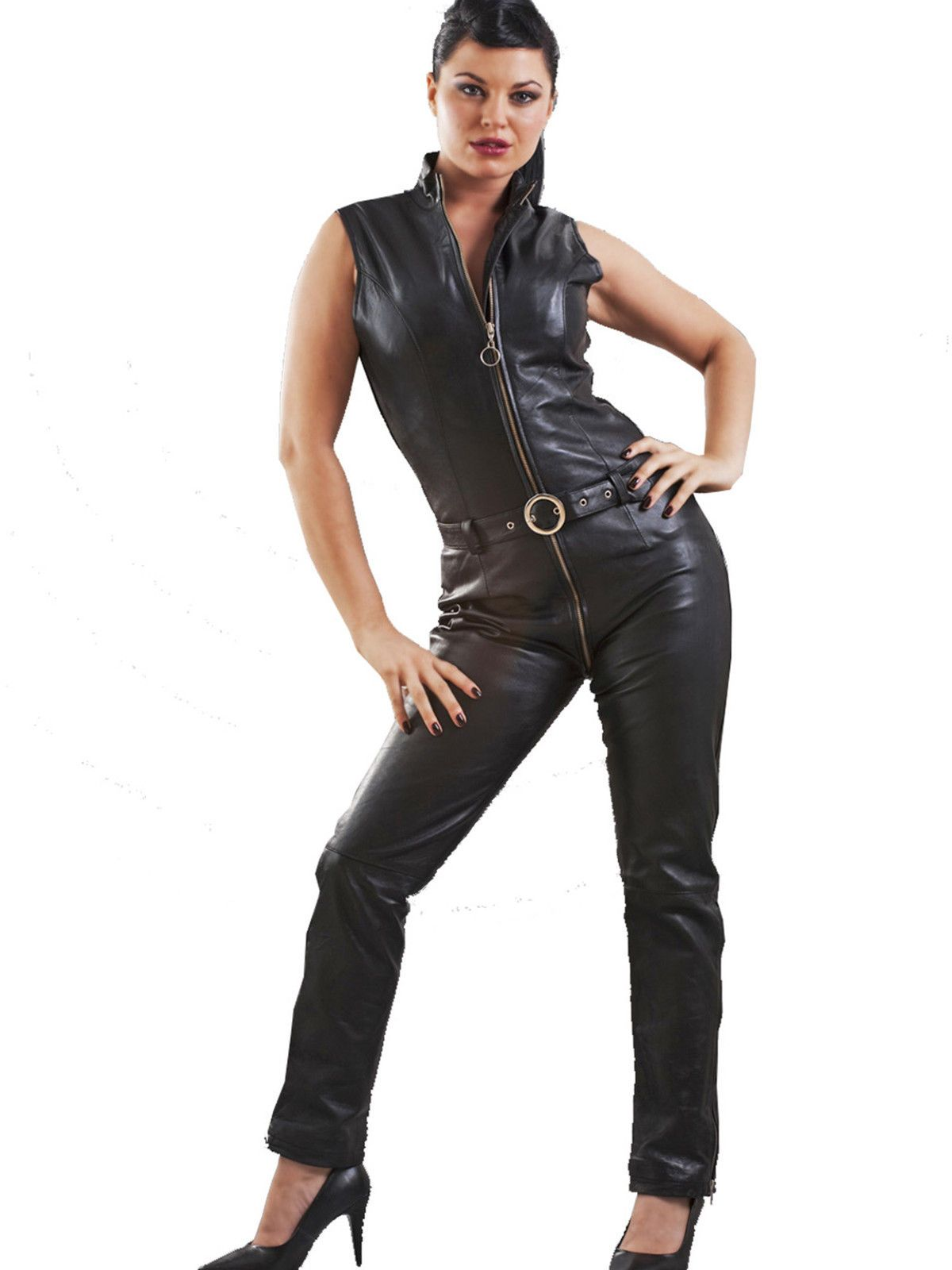 Honour Women's Catsuit in Leather Black Kinky Sleeveless ...
