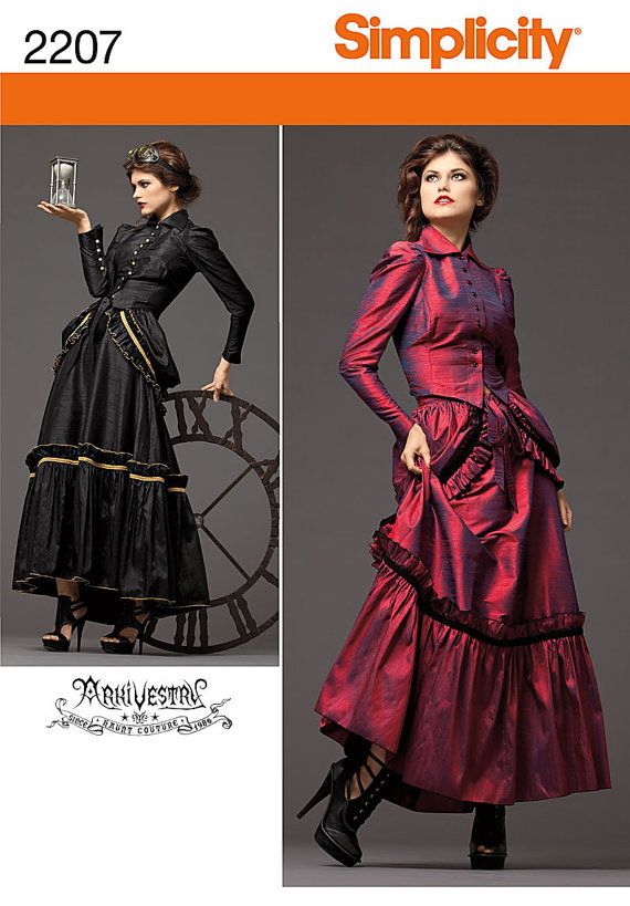 Diy Sewing Pattern Simplicity 2207 Steampunk Blouse Bustle And