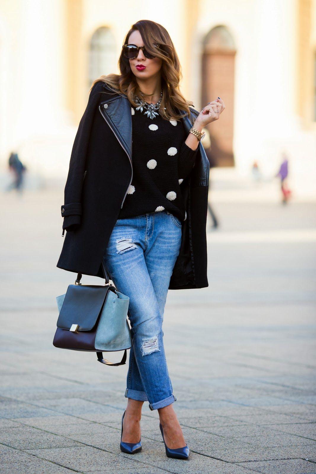 Coat and heels zara sweater forever jeans mango bag
