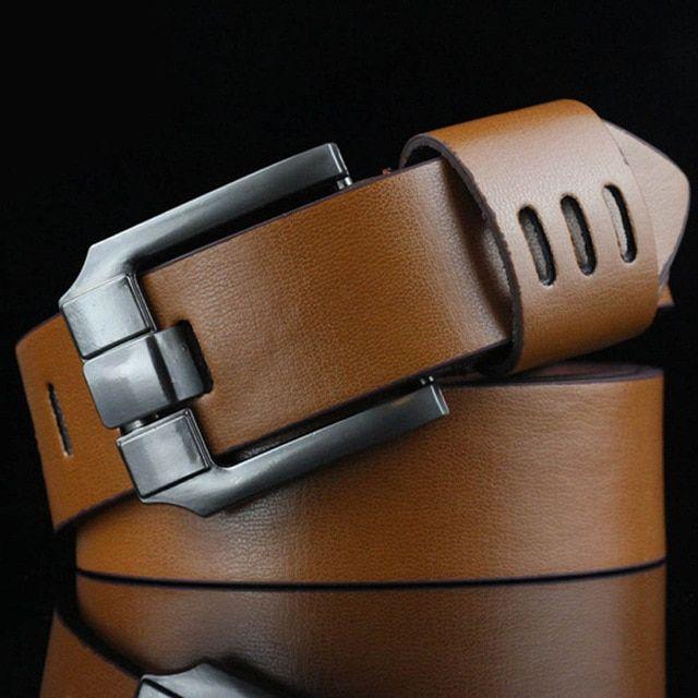 110cm mens leather hollow brown belt men alloy wide coffee belts