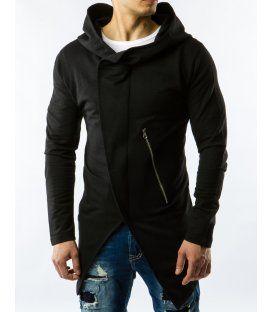 Pánska čierna mikina s kapucňou na zips  475a59d5760