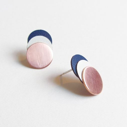 Layer Circle Earrings Navy | Lovely Pigeon