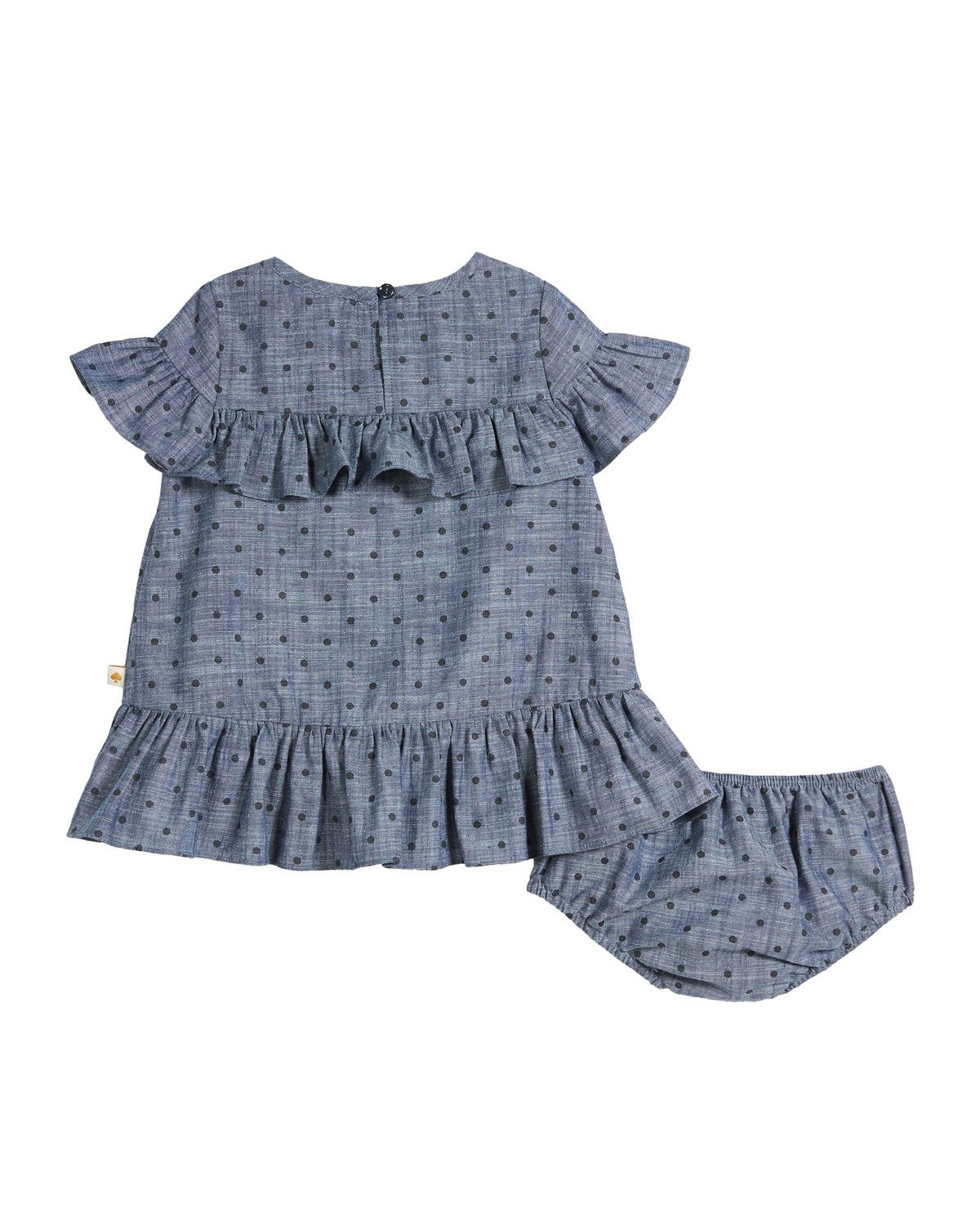 61ccc000c Chambray polka-dot ruffle-trim dress w  bloomers