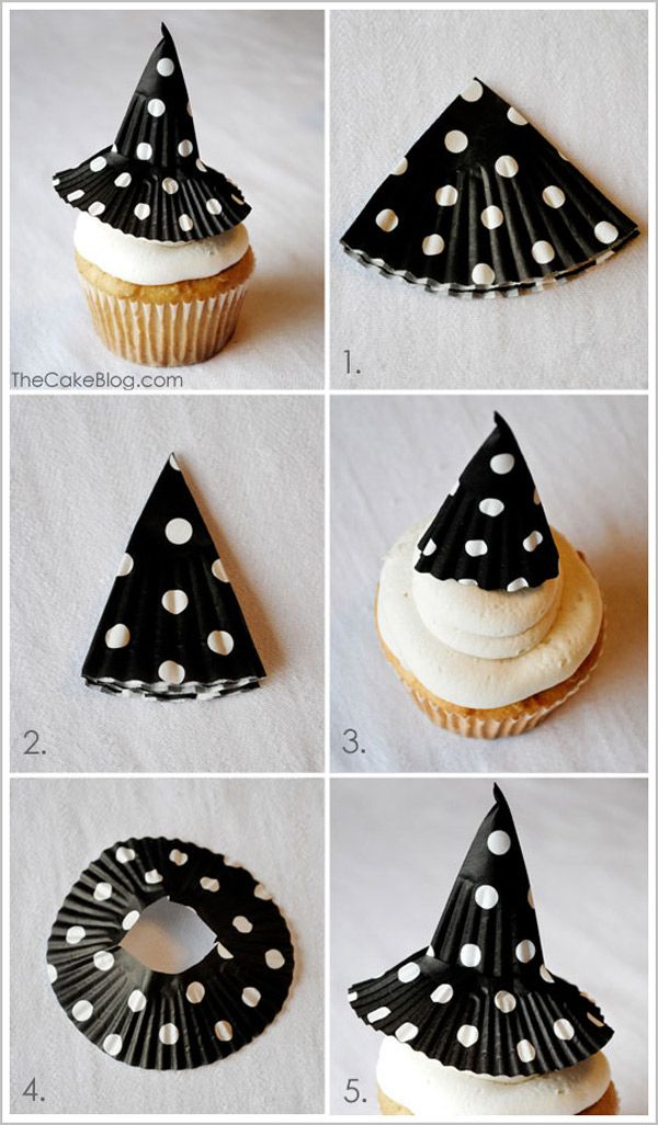 10 recetas dulces para Halloween Hats, Cupcake liners and Witch hats - halloween cupcake decor