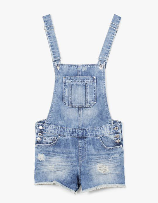 032baac94a41 sew denim skirt overall Short denim dungarees - DENIM ROOM - Stradivarius  United Kingdom