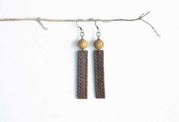 Handmade Genuine Leather and Wooden Beads by VelmaJewelry on Etsy