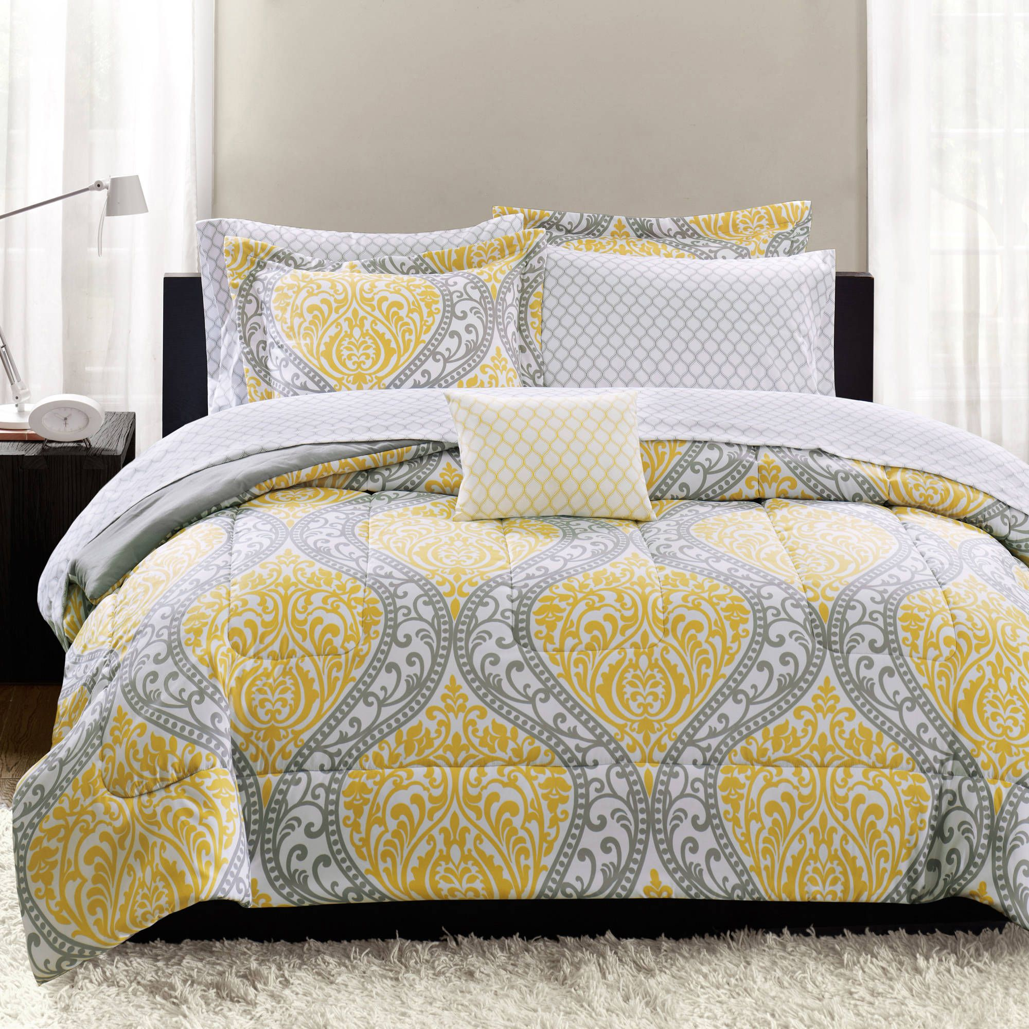 Black and white damask bedding queen - Mainstays Yellow Damask Coordinated Bedding Set Bed In A Bag Sale