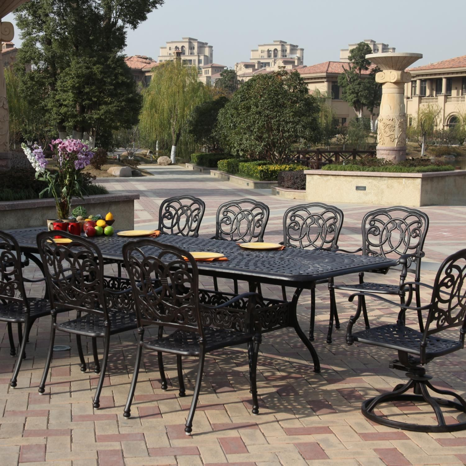 Darlee Florence 10 Person Cast Aluminum Patio Dining Set With