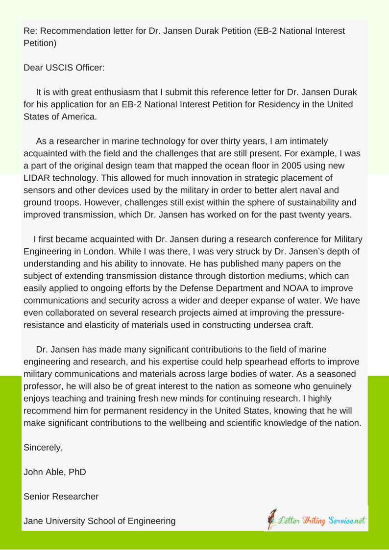 Reference Letter For Green Card Eb2 Example Imgur Reference Letter Letter Of Recommendation Letter Example