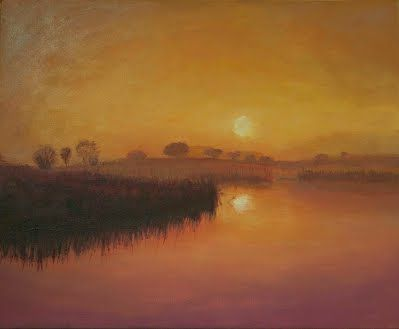 Pintura acrílica sobre lienzo. Paisaje de una laguna ...