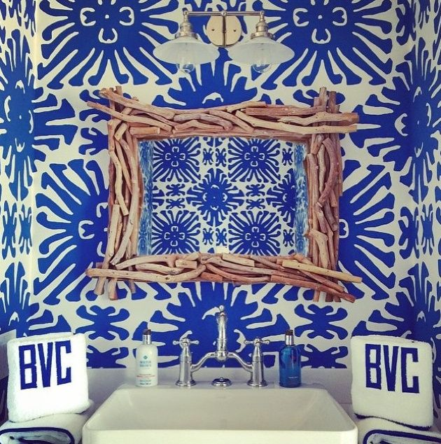 A Powder Room That Pops Featuring Leontine Linens Monogram Towels - Personalized bath towels for small bathroom ideas