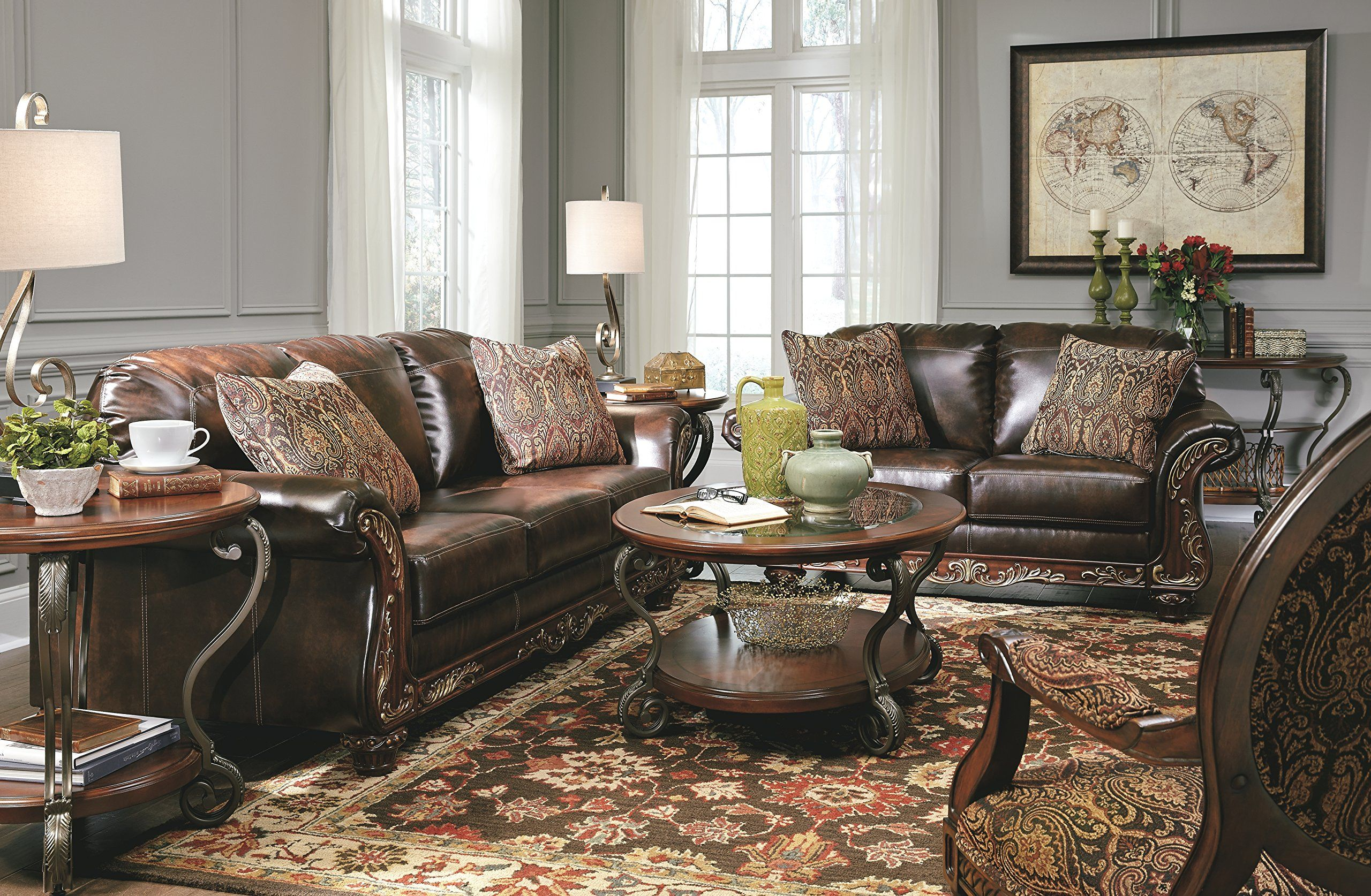 Ashley Furniture Signature Design Vanceton Loveseat Ornate Traditional Sofa Antique Brown Read More Reviews Of The Product By Visiting Link On