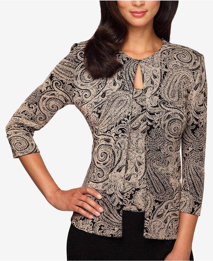 40adbbb2745e3 Alex Evenings Plus Size Glitter-Print Jacket   Shell