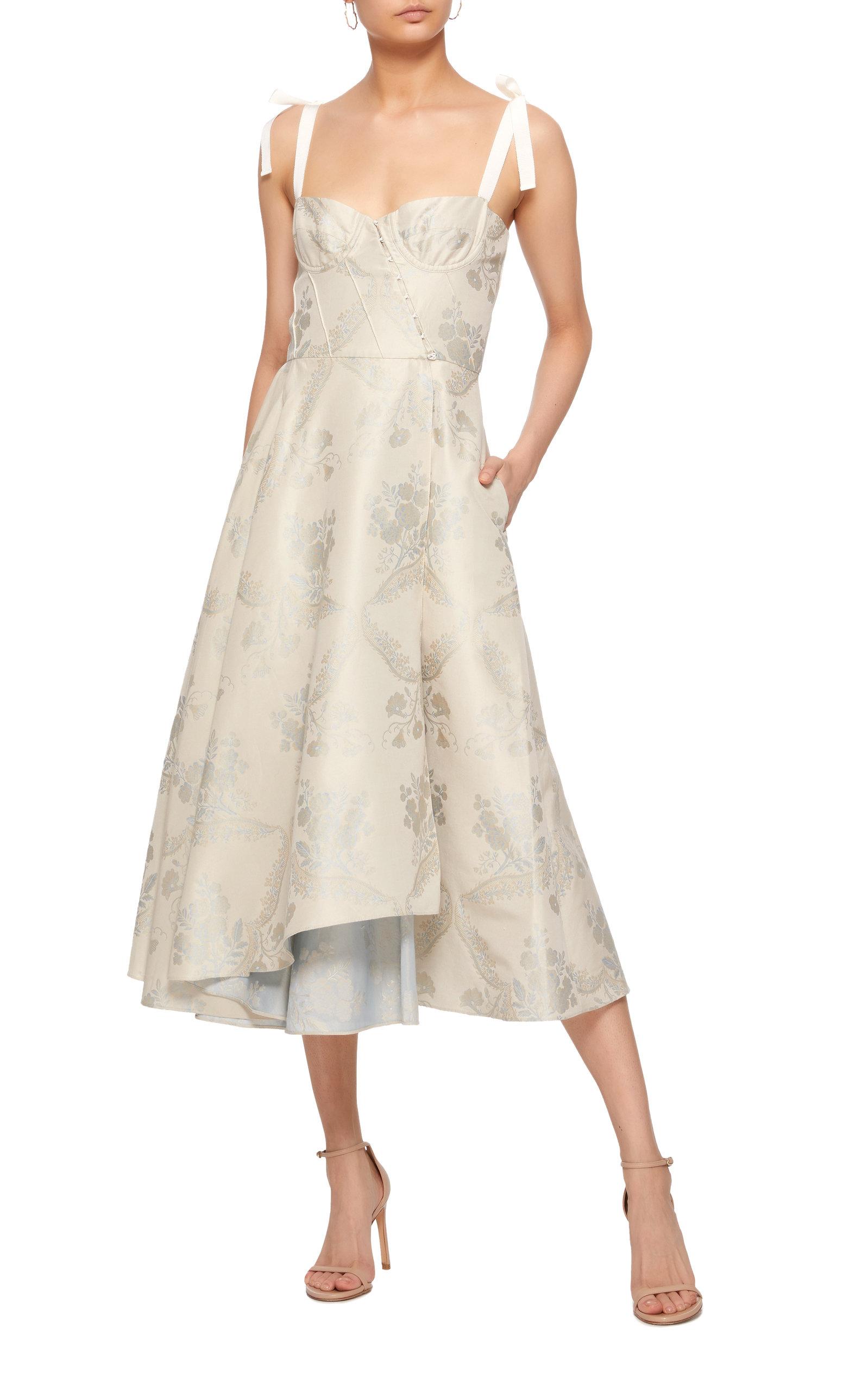 Orsola Floral Jacquard Midi Dress By Brock Collection Now Available On Moda Operandi Fancy Dresses Short Dresses Casual Taffeta Dress