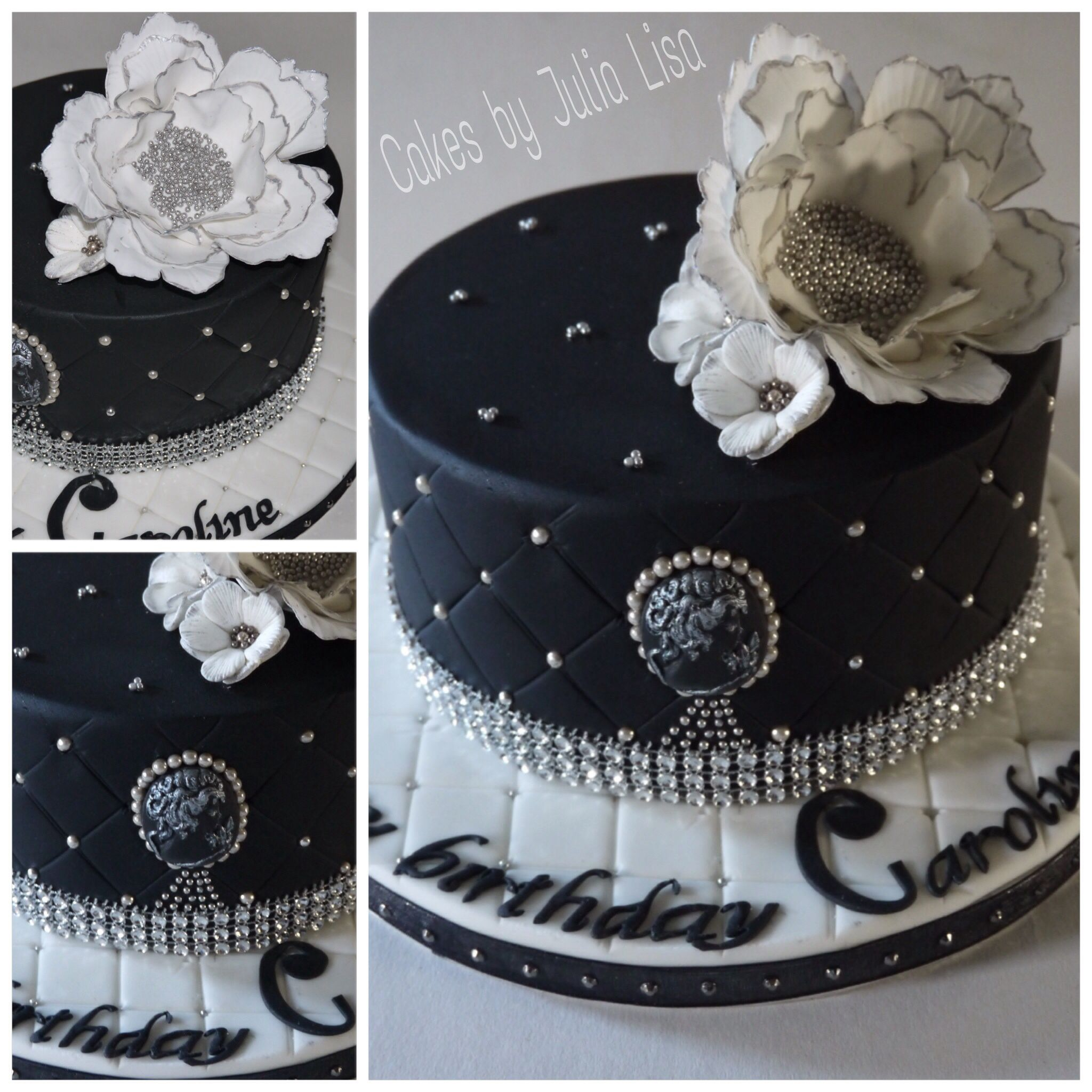 black and silver quilted design rich fruit cake with