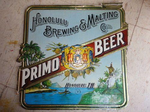 12 Inch Vintage Hawaiian Primo Beer Card Board Sign Hawaii