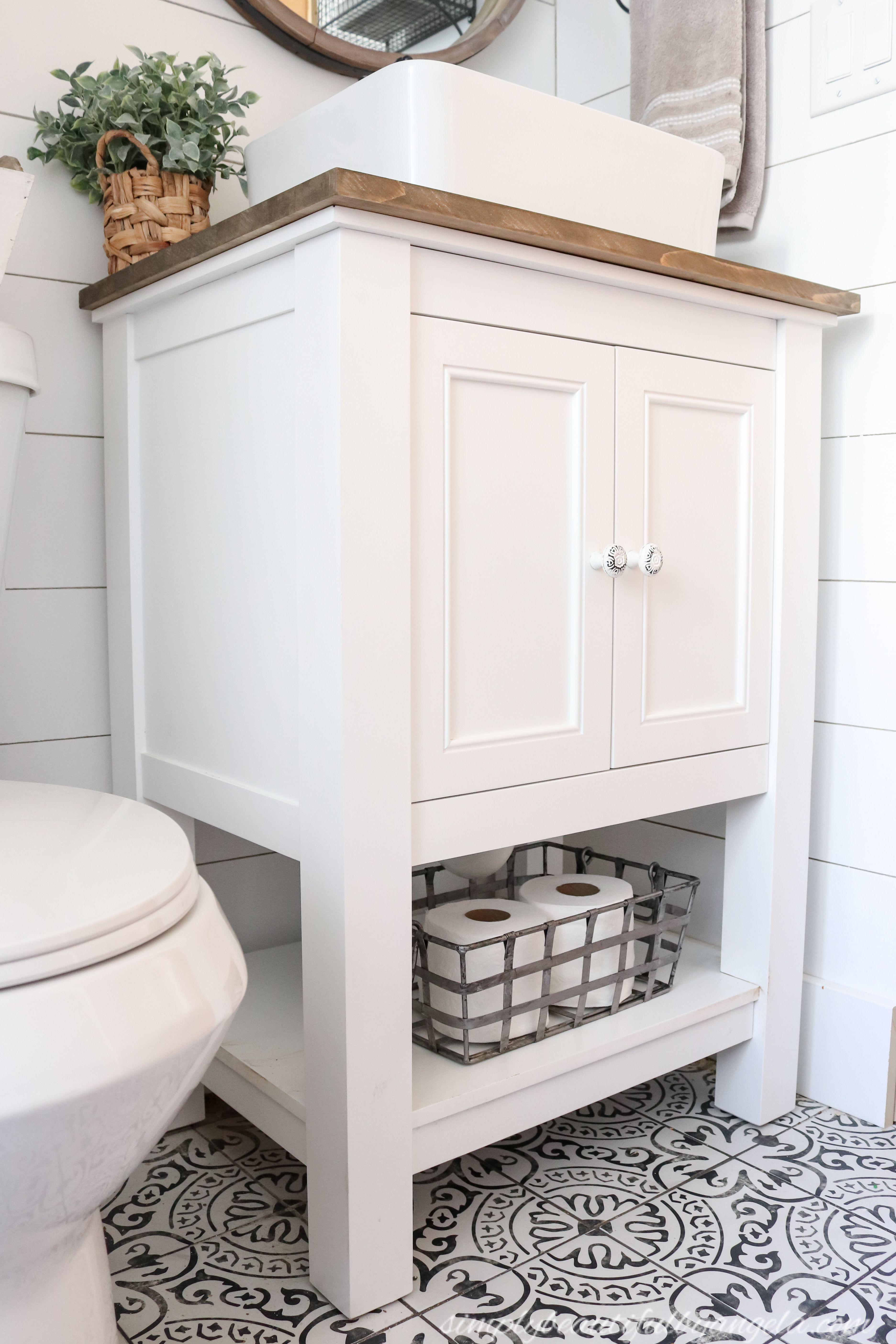 Adore Wood On White But Would Want A Recessed Sink Small Bathroom Sinks Small Bathroom Vanities Vessel Sink Bathroom Vanity [ 5617 x 3745 Pixel ]