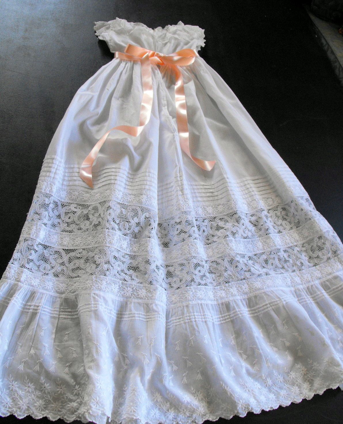 Vintage Victorian Christening Gown English with Embroidery, Ruffles and Lace. $175.00, via Etsy.