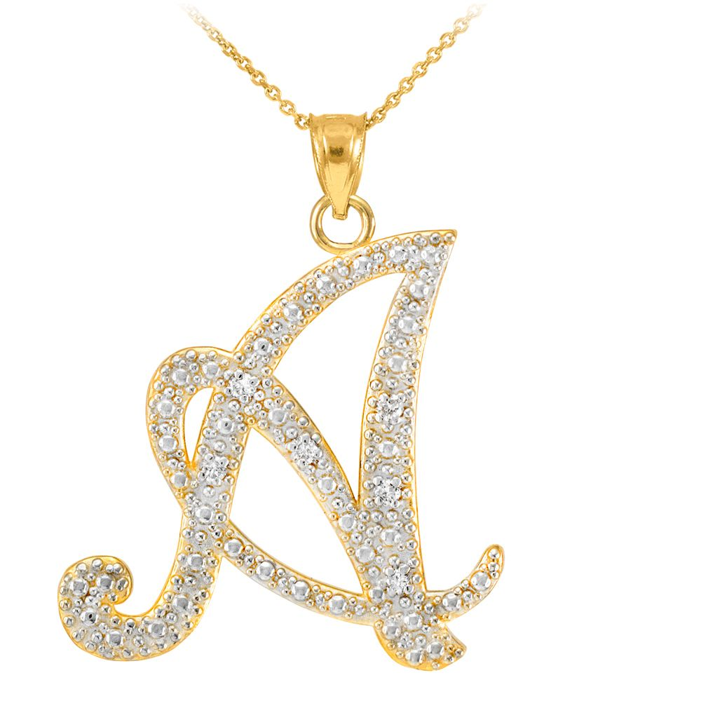 14k Gold Letter Script A Diamond Initial Pendant Necklace Initial Pendant Necklace Diamond Pendant Initial Necklace