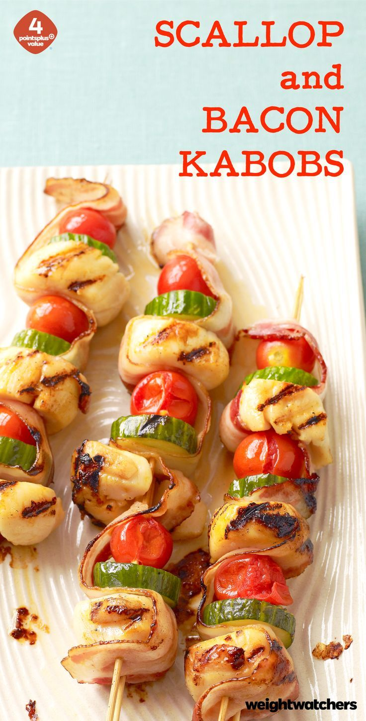 Bacon, scallops, veggies, repeat! These Scallop & Bacon Kabobs are delicious grilled or broiled!