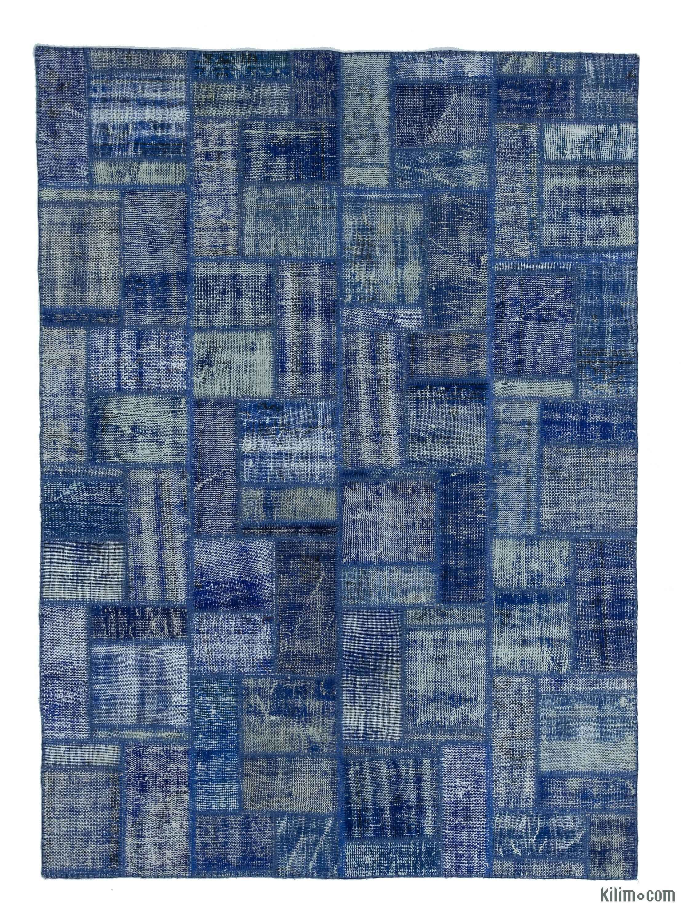 Blue Over-dyed Turkish Patchwork Rug - 5'8'' x 7'10'' (68 in  x 94