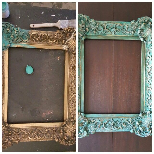 Before After Ornate Gold Frame Painted With Chalk Paint And Wet