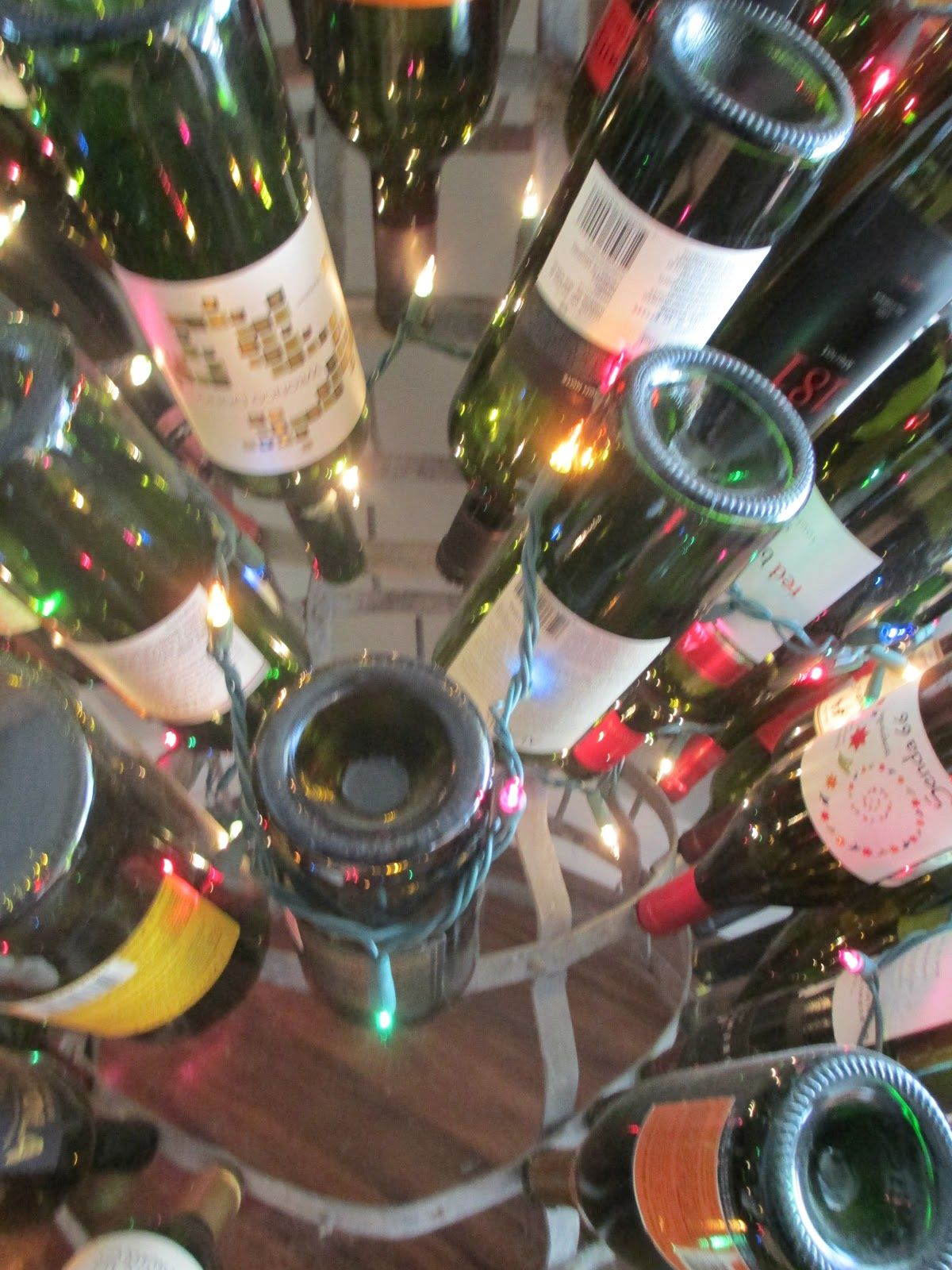 Gorgeous wine bottle tree.