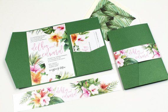 Hibiscus Wedding Invitation, Tropical Invitation, Destination Wedding Invitation, Palm leaves, watercolor, Hawaii Wedding -DEPOSIT