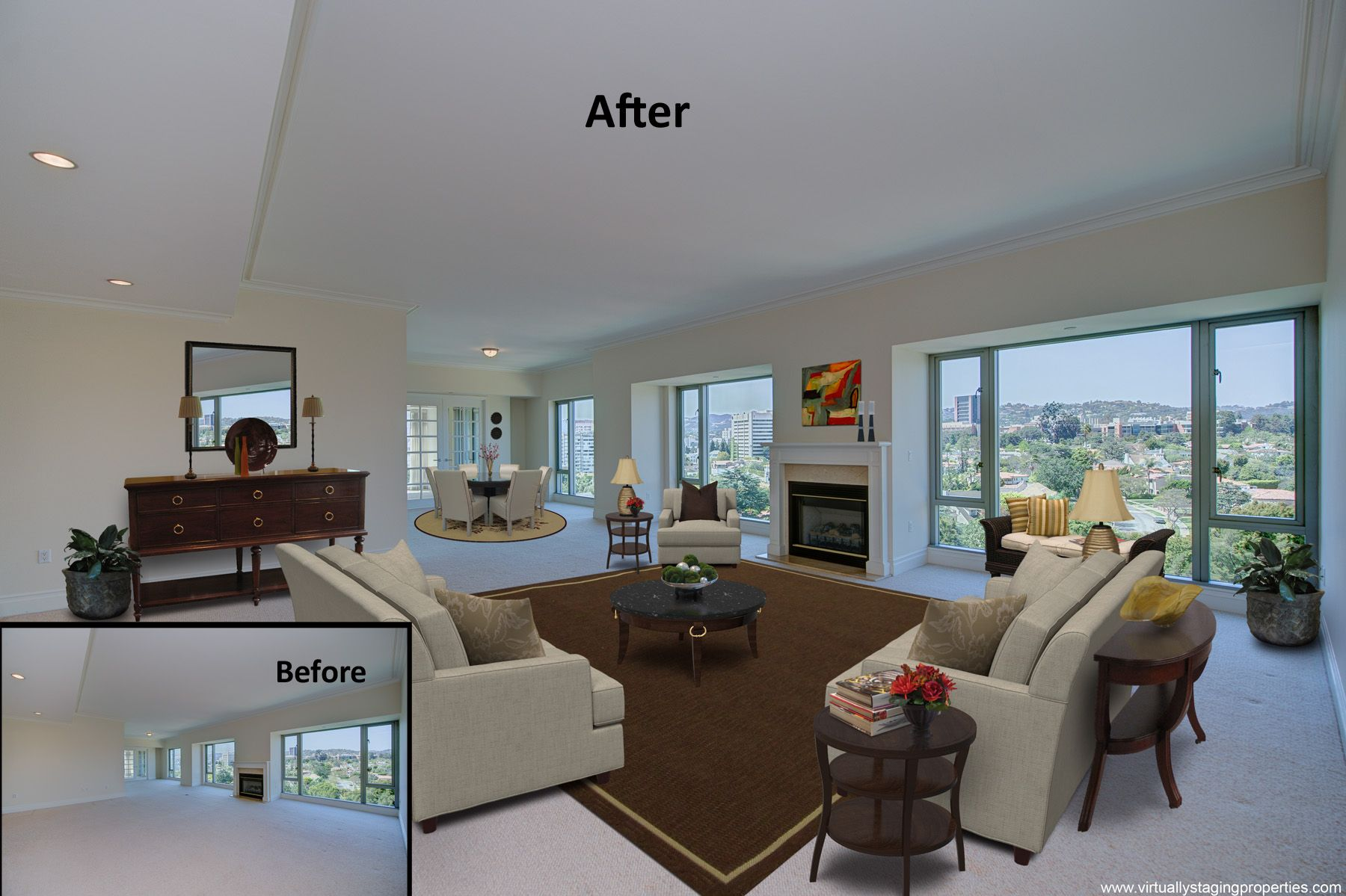Virtual Staging Added Some Chic Style To This Large Open Living Space In A  Penthouse Unit