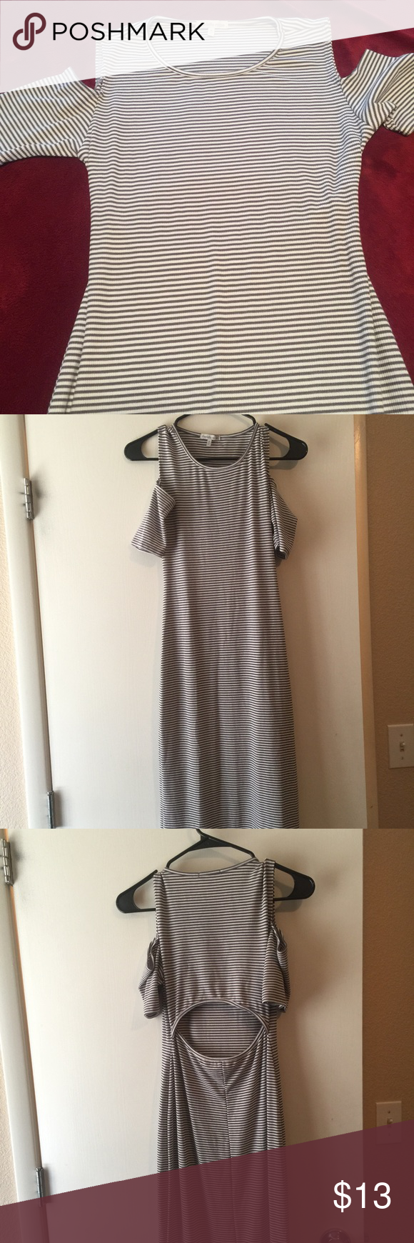 Grey and White Stripe dress Grey and white stripe dress with cold shoulder arm and open back.. never worn Charlotte Russe Dresses Midi