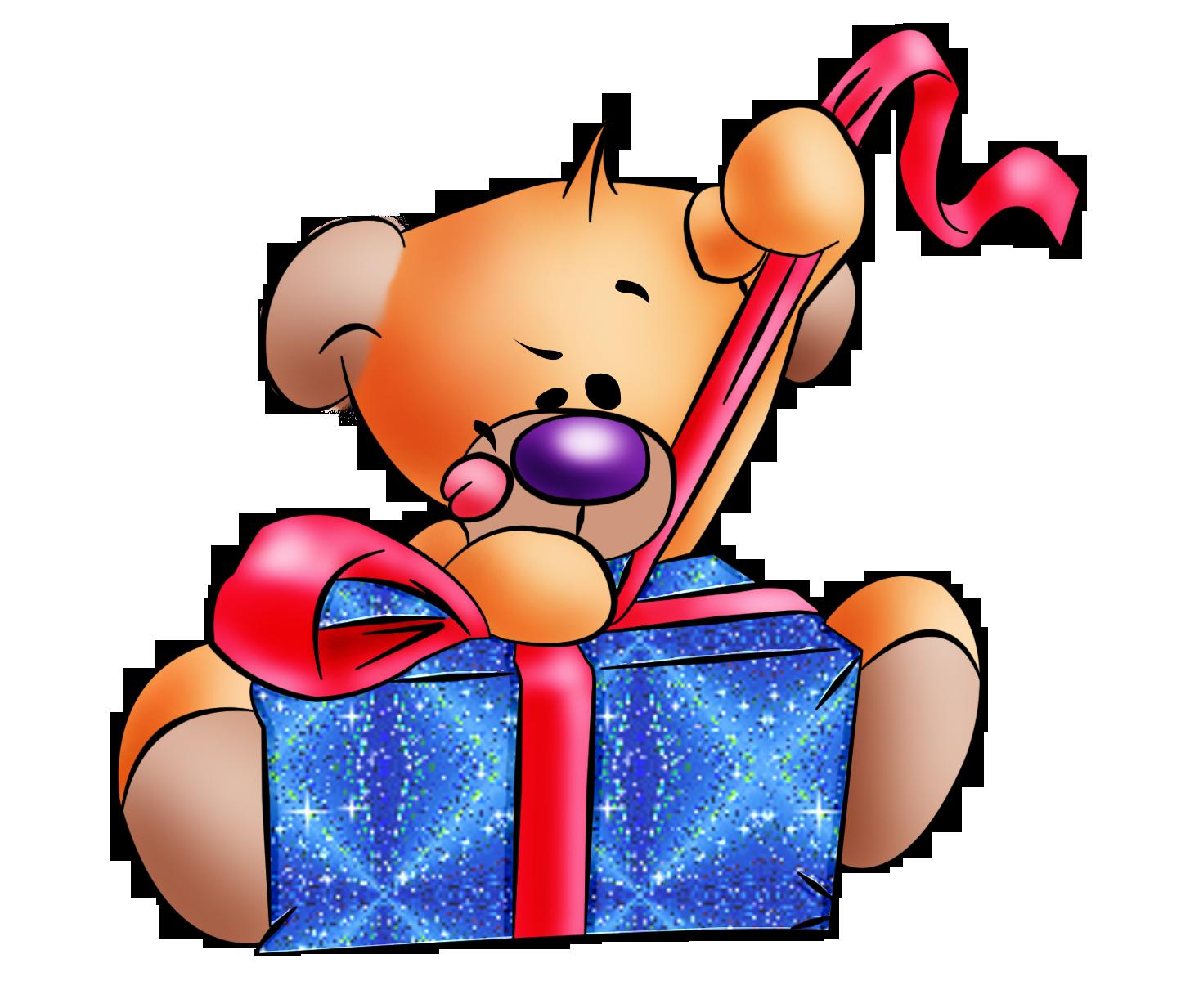 Animales infantilesOsito con caja de regalo  Vectores Cumple